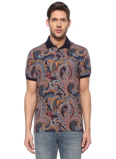 Etro Etro Colorblocked Şal Desenli Polo Yaka T-shirt 101618015 Renkli